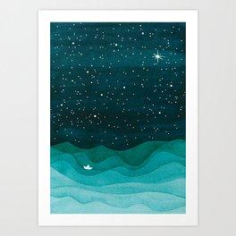 Starry Ocean, teal sailboat watercolor sea waves night Art Print