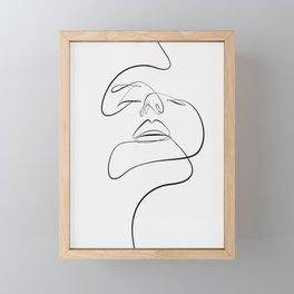 Monoline woman face Framed Mini Art Print