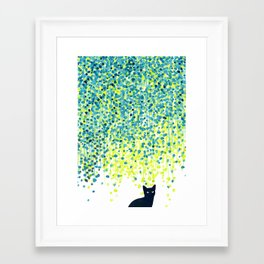 Cat in the garden under willow tree Framed Art Print