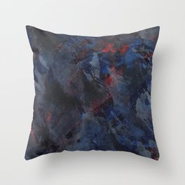 Black and White Ink on Blue and Red Background Throw Pillow