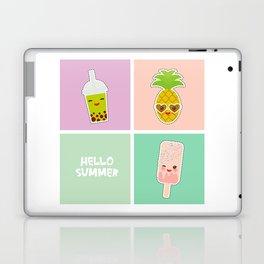 Hello Summer bright tropical card, pineapple, smoothie cup, ice cream, bubble tea. Kawaii cute face. Laptop & iPad Skin