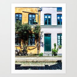 Danish Building Facades in Colourful Sunny Copenhagen Art Print