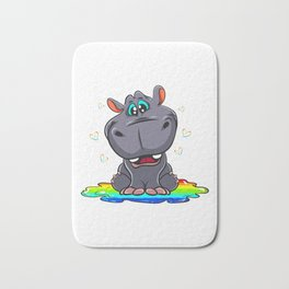 Cute Hippo Sitting In A Rainbow Puddle Bath Mat