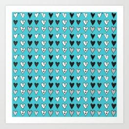 Baby Blue Heart Doodles Art Print
