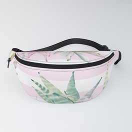 Rose Stripe Succulents - Pink and Mint Green Cactus Pattern Fanny Pack