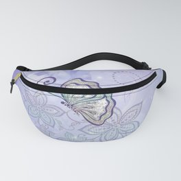 Bautiful butterflies with flowers Fanny Pack