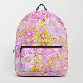 Pastel Patchwork Flower Garden, Soft Lavender, Lilac Purple and Pink Floral Quilt Repeat Pattern Backpack