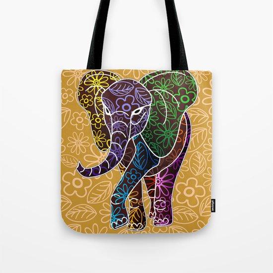 Elephant Floral Batik Art Design Tote Bag By Bluedarkatlem