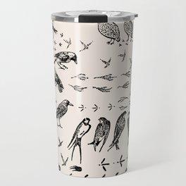 Black birds and their Footprints Travel Mug