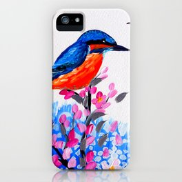 Kingfishers and Cherry Blossom iPhone Case