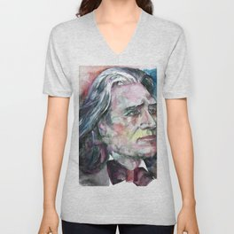FRANZ LISZT - watercolor portrait.2 Unisex V-Neck