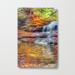 Waterfall Watercolor Painting Nature Landscape Forrest Water Oil Acrylic Wall Art Metal Print