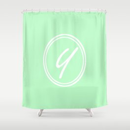 Monogram - Letter Y on Mint Green Background Shower Curtain