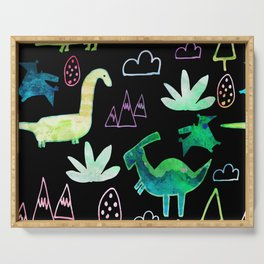 Dino Fun land Black Serving Tray