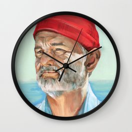 Steve Zissou Bill Murray Painted Portrait Wall Clock