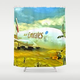 Emirates A380 Airbus Pop Art Shower Curtain