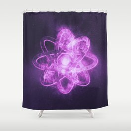 Atom symbol. Abstract night sky background Shower Curtain