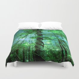 Forest Of The Fairies Green Blue Duvet Cover