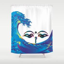 Hokusai Rainbow & Eyes of God of India Shower Curtain