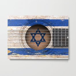 Old Vintage Acoustic Guitar with Israeli Flag Metal Print