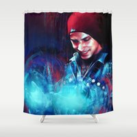 infamous Shower Curtains featuring Delsin Rowe by Kate Dunn
