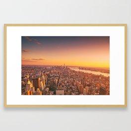 New York City Sunset Skyline Framed Art Print