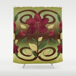 Scarlet Flora Shower Curtain