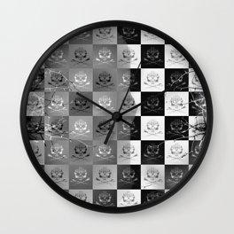 Branching Into Darkness: Bitter Techno Skulls-Checkers Wall Clock