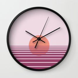 Pink sunset print - Girls Gang Prints Wall Clock