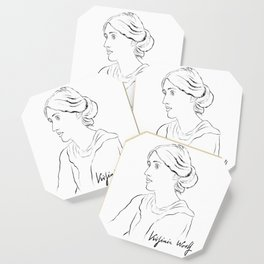 Virginia Woolf Portrait with Signature Coaster