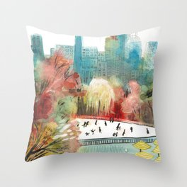 Wollman Rink Central Park Throw Pillow