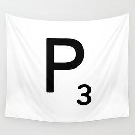 Letter P - Custom Scrabble Letter Tile Art - Scrabble P Initial Wall Tapestry