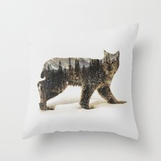 Arctic Lynx Throw Pillow