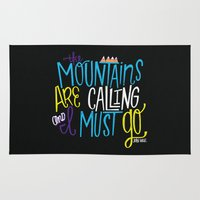 the mountains are calling Area & Throw Rugs featuring Mountains Are Calling by Chelsea Herrick