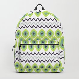 Abstract avocado green black geometric zigzag stripes pattern Backpack