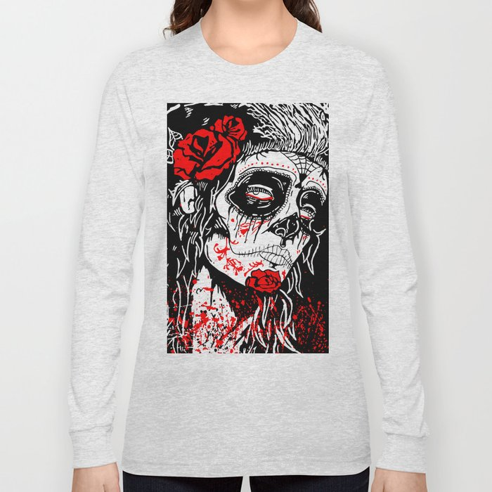2bdd234187d96 Girl With Sugar Skull, Day of the Dead Long Sleeve T-shirt by goart ...