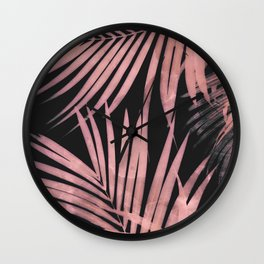 Delicate Jungle with Pink and Black Wall Clock
