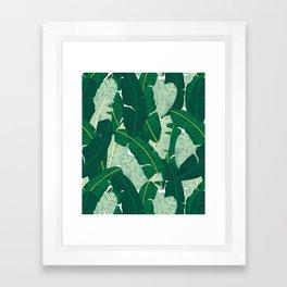 Classic Banana Leaves in Palm Springs Green Framed Art Print