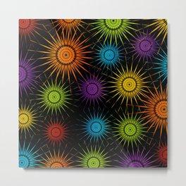 Colorful Christmas snowflakes pattern- holiday season gifts Metal Print