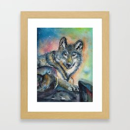 Gentle wolf Framed Art Print