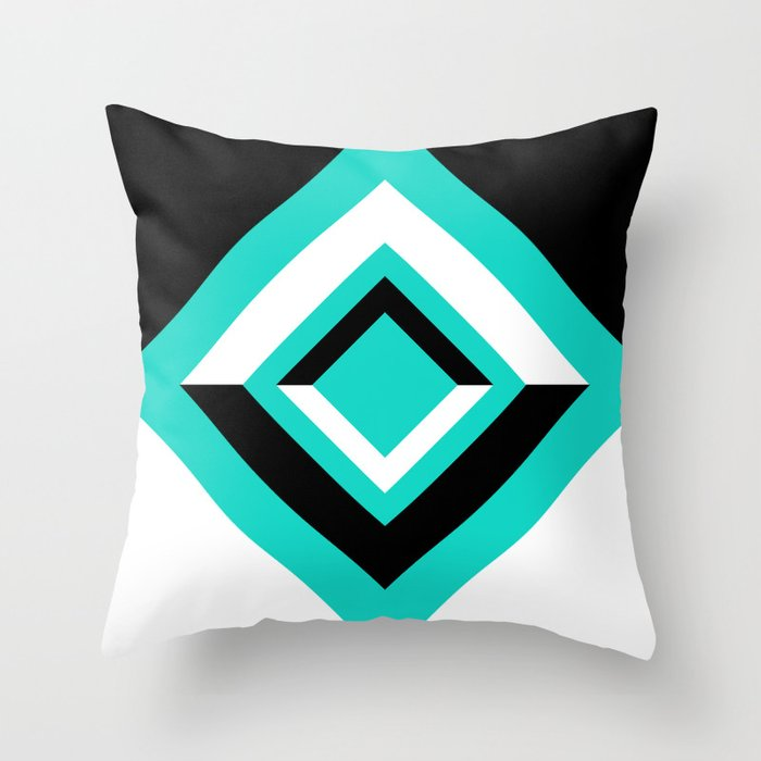 Teal Black and White Diamond Shapes Digital Illustration - Artwork Throw Pillow
