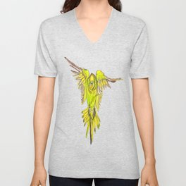 Flying Australian Budgie Bird Parakeet Unisex V-Neck