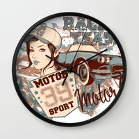 racing Wall Clocks featuring Racing Team by Tshirt-Factory