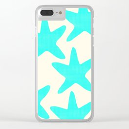 Aqua Starfish Pattern on Pale Yellow Clear iPhone Case