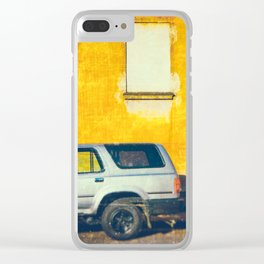 Pickup and yellow wall Clear iPhone Case