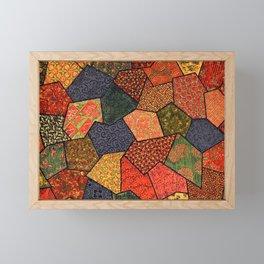 Japanese colorful quilt patchwork Framed Mini Art Print