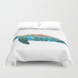 Colorful Sea Turtle - Beachy Beach Art - Sharon Cummings Duvet Cover