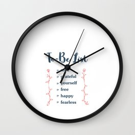 Hand Drawn Illustrations To Be List Nice Gratefull Yourself Free Happy Fearless Gift Wall Clock