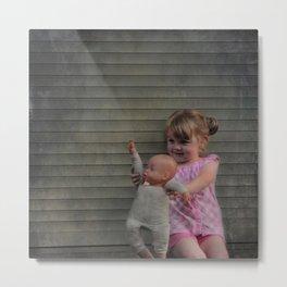 Waving goodbye: girl with doll Metal Print