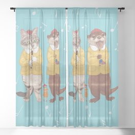 A GIRL WITH CAT and OTTER wide Sheer Curtain